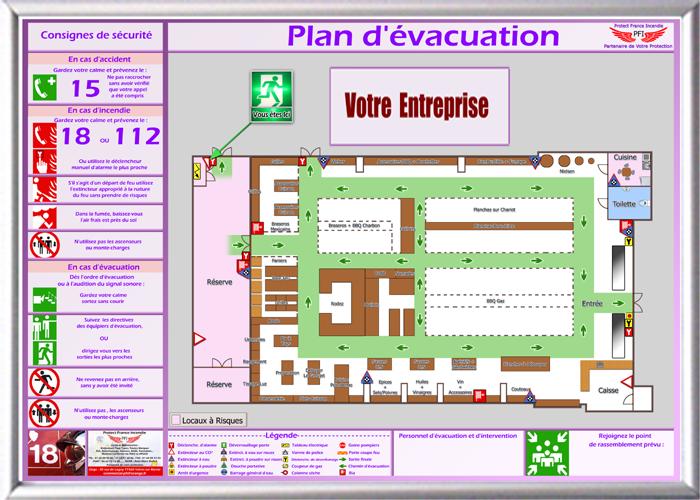 Plans d'évacuation plan d incendie Plans d'intervention Plans de chambre Hôtel Consignes de sécurité Consignes d'évacuation Panneaux de sécurité
